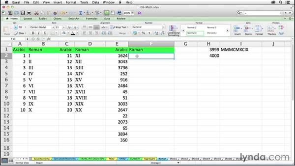 Using the ROMAN function to display different number systems: Excel 2011 for the Mac: Mastering Formulas and Functions