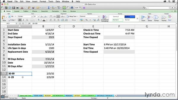 Understanding Excel date/time capabilities in formulas: Excel 2011 for the Mac: Mastering Formulas and Functions