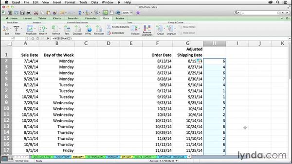 Identifying the day of the week with WEEKDAY: Excel 2011 for the Mac: Mastering Formulas and Functions