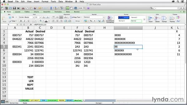 Using other utility text functions: LEN, REPT, VALUE, TEXT: Excel 2011 for the Mac: Mastering Formulas and Functions