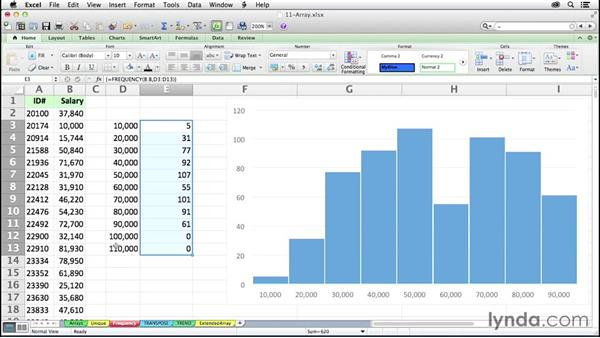Determining frequency distributions with FREQUENCY: Excel 2011 for the Mac: Mastering Formulas and Functions