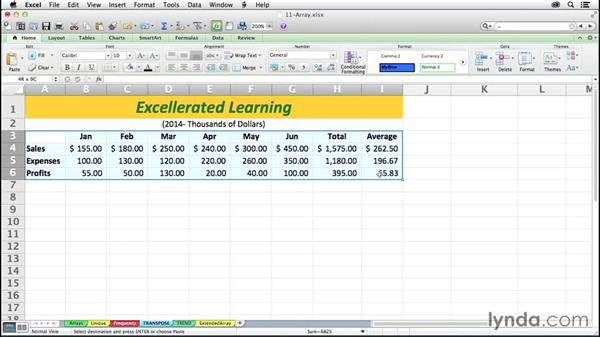 Flipping row/column orientation with TRANSPOSE: Excel 2011 for the Mac: Mastering Formulas and Functions