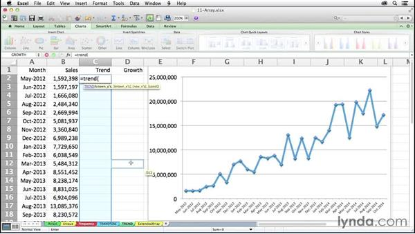 Building analysis via regression techniques with TREND and GROWTH: Excel 2011 for the Mac: Mastering Formulas and Functions