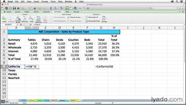 Returning references with INDIRECT: Excel 2011 for the Mac: Mastering Formulas and Functions