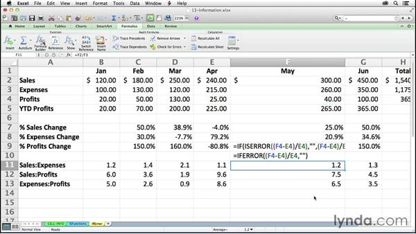Using error-checking functions ISERR, ISERROR, IFERROR, and ISNA: Excel 2011 for the Mac: Mastering Formulas and Functions