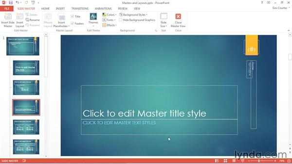 Viewing slide masters and slide layouts: Using Office 2013 Themes and Templates for Branding