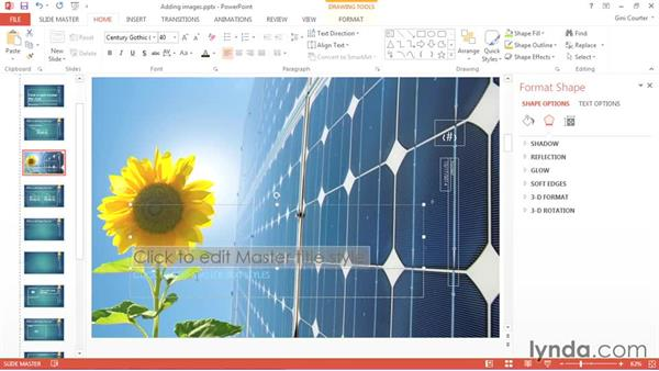 Adding images and media placeholders: Using Office 2013 Themes and Templates for Branding
