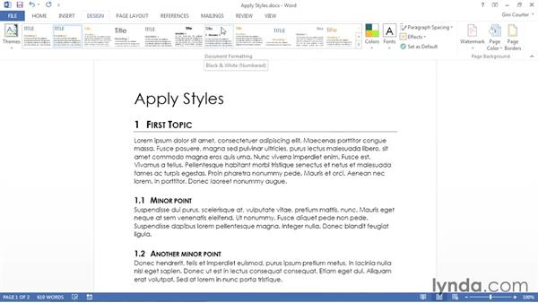 Applying styles: Using Office 2013 Themes and Templates for Branding