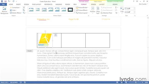 Creating a custom header, footer, or Quick Part: Using Office 2013 Themes and Templates for Branding