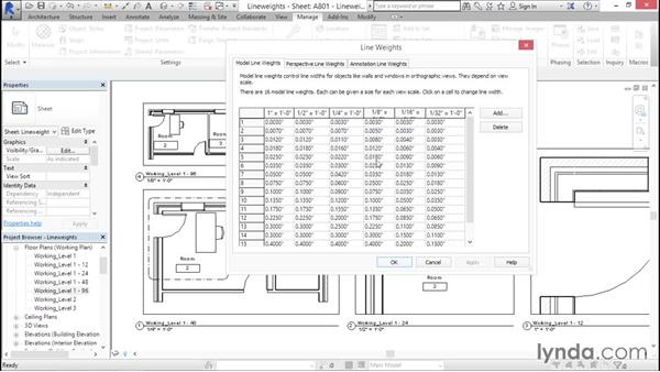 Line weights: Creating Revit Templates: Content