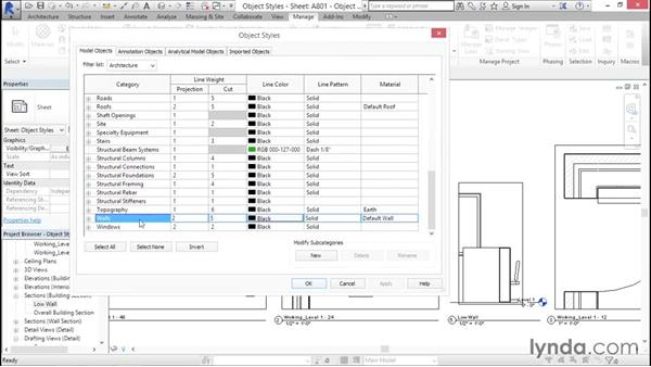 Object styles: Creating Revit Templates: Content