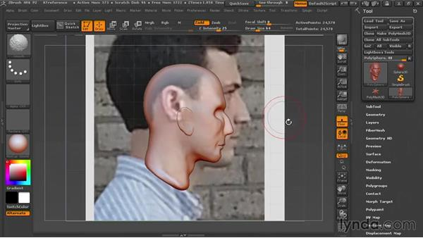 Placing reference photos on the grid: Sculpting Portraits in ZBrush
