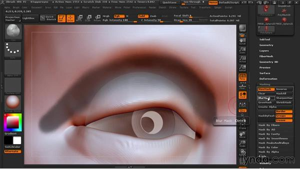 Making the upper eyelids: Sculpting Portraits in ZBrush