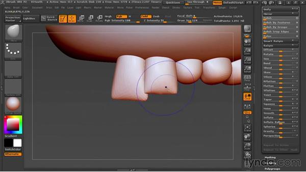 Sculpting the teeth: Sculpting Portraits in ZBrush