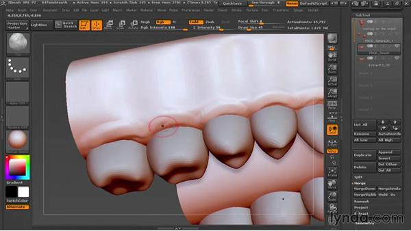 Finishing the teeth: Sculpting Portraits in ZBrush