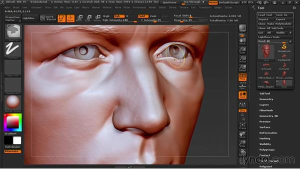 Making fine wrinkles and pores: Sculpting Portraits in ZBrush