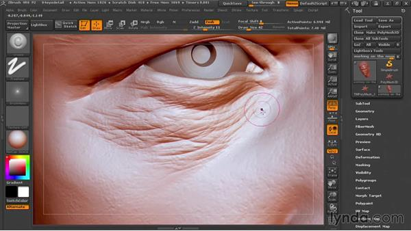 Detailing around the eyes: Sculpting Portraits in ZBrush