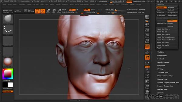 Creating a facial expression: Sculpting Portraits in ZBrush