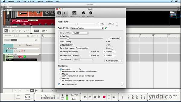 Setting preferences for monitoring and recording audio: Up and Running with Reason 8