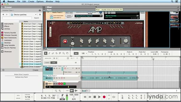 Recording with the virtual guitar and bass amplifiers: Up and Running with Reason 8