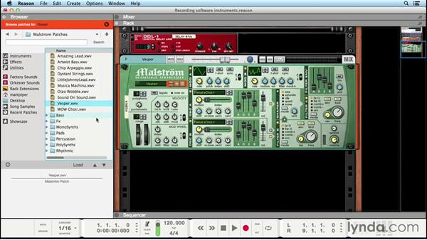 Recording software instrument tracks: Up and Running with Reason 8