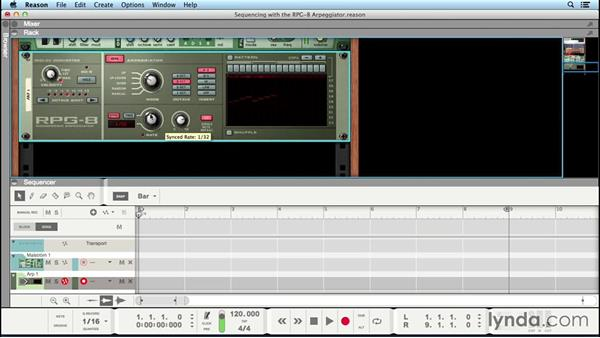 Using the RPG-8 Arpeggiator to create sequencer parts: Up and Running with Reason 8