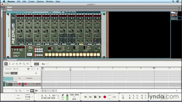 Creating drumbeats with Redrum Drum Computer: Up and Running with Reason 8