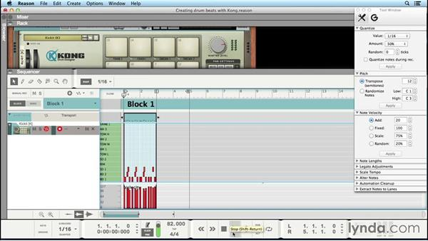 Creating drumbeats with Kong Drum Designer: Up and Running with Reason 8