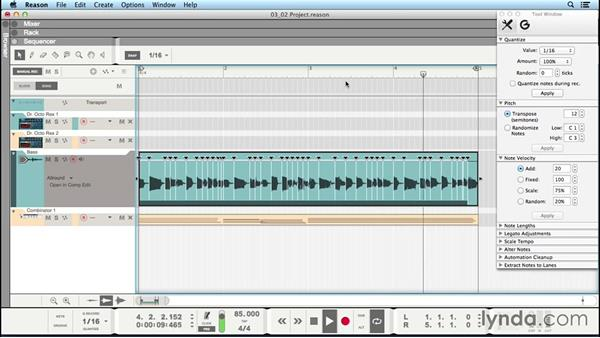 Audio quantize: Up and Running with Reason 8