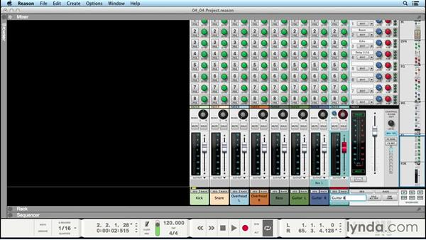 Setting levels and stereo pans: Up and Running with Reason 8