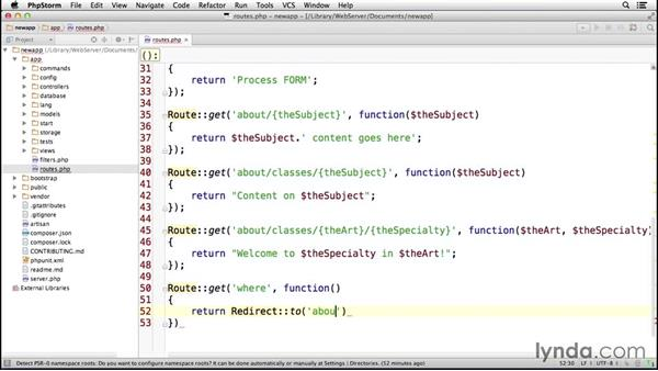 Working with redirects: Laravel 4 Essential Training