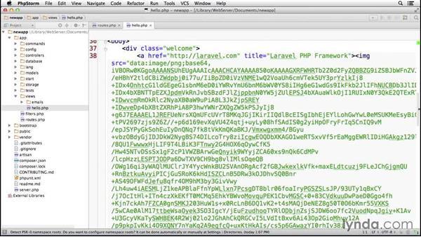 Establishing an HTML view: Laravel 4 Essential Training