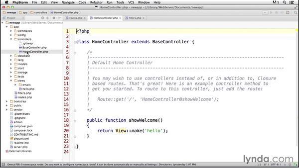 Applying controllers: Laravel 4 Essential Training