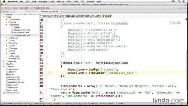 Updating and dropping tables: Laravel 4 Essential Training