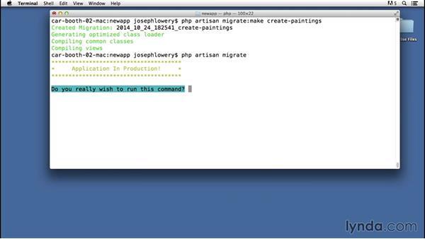 Creating tables via migrations: Laravel 4 Essential Training