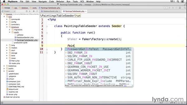Seeding the database: Laravel 4 Essential Training