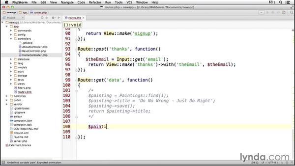 Outputting data: Laravel 4 Essential Training