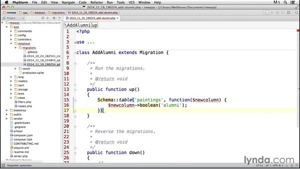 Solution: Migrations and data: Laravel 4 Essential Training