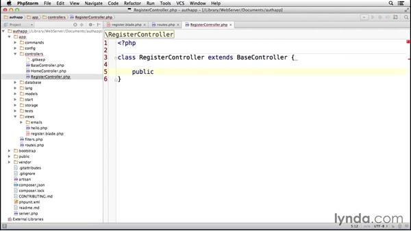 Registering a user: Laravel 4 Essential Training