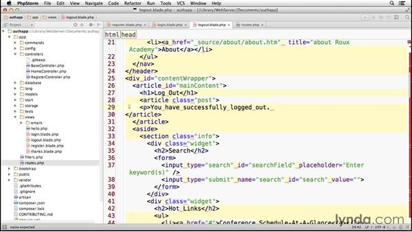 Setting up login and logout: Laravel 4 Essential Training
