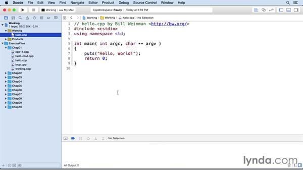 Using Xcode with the exercises: C++ Essential Training