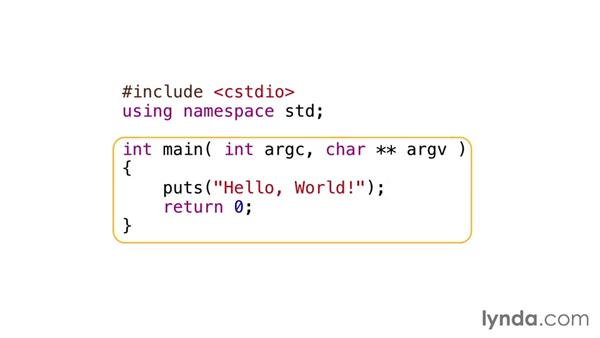 Introduction to basic syntax: C++ Essential Training