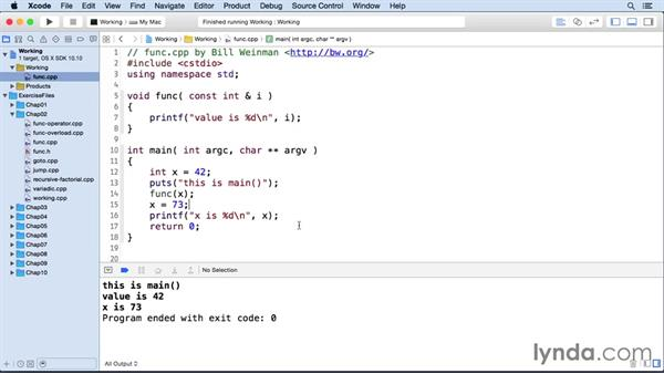 Passing values to a function: C++ Essential Training