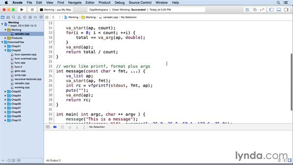 Defining a variable number of arguments: C++ Essential Training