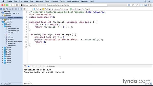 Using recursion: C++ Essential Training