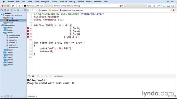 Line continuation with backslash: C++ Essential Training