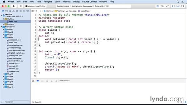 Defining a class: C++ Essential Training