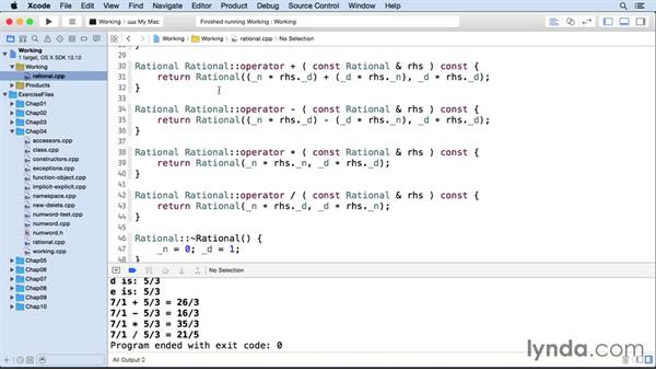Overloading operators with member functions: C++ Essential Training