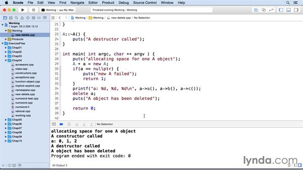 Creating and destroying objects with new and delete: C++ Essential Training