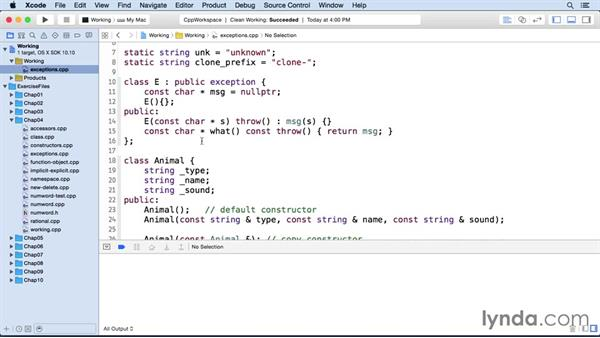 Reporting errors with exceptions: C++ Essential Training